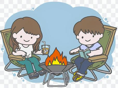 Men and women enjoying camping (with color background)