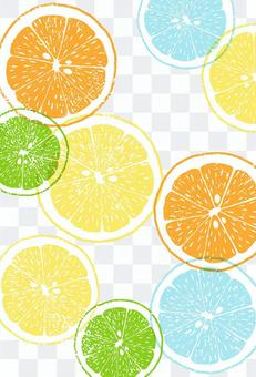 Print-style citrus summer greeting postcard vertical