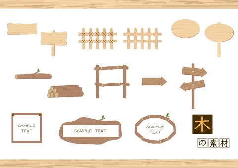 Wood illustration material (wood grain material) set