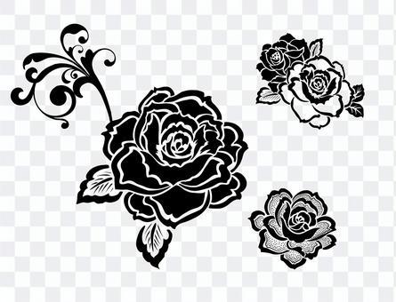 モノトーンな薔薇のパーツ素材