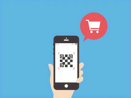 用智能手機購物的形象