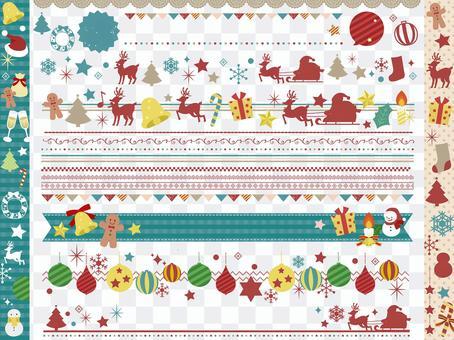 メリークリスマス飾り罫ラインセット