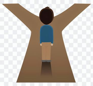 站立在一條分開的路的人的例證