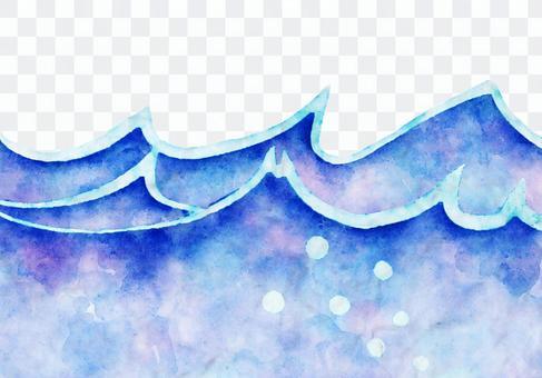 簡單的波浪水彩畫