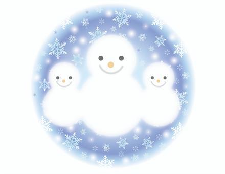 雪人父母和孩子和圓雪背景