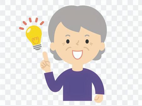 アイデアがひらめくおばあちゃん 電球