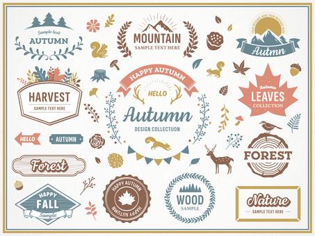 Autumn nature decoration frame and illustration set