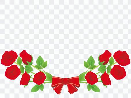 バラとリボンのフレーム 赤いバラ