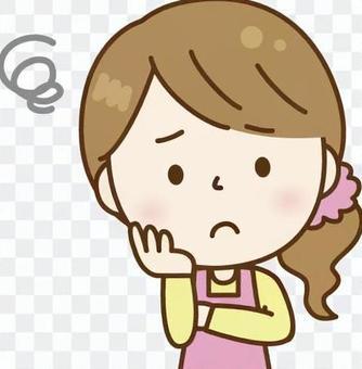 一個女人圍裙女人粉紅色