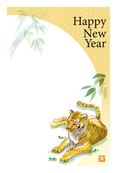 Watercolor hand-painted tiger New Year's card tiger and bamboo color 2