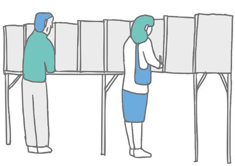 選民在投票站填寫