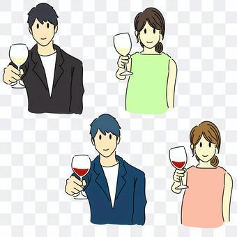 男人和女人用酒敬酒