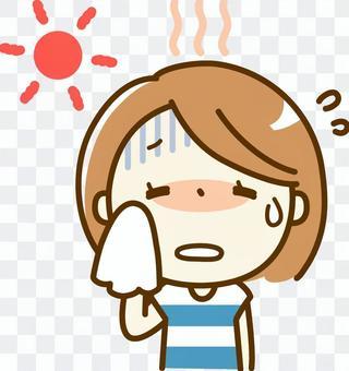 A woman with heatstroke