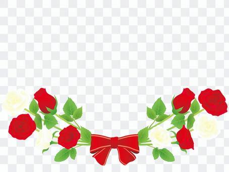 バラとリボンのフレーム 赤と白のバラ
