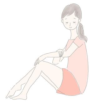 女人鬆開她的手臂