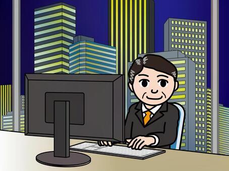 オフィス街(35)夜の高層ビル 男性