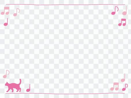 Crayon frame with pink cat and ounce