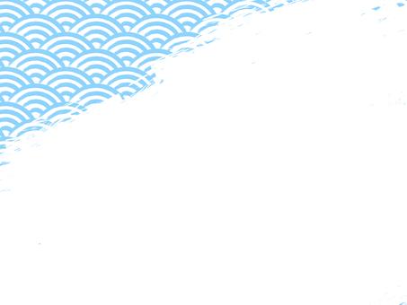 毛筆寫青海波浪填充背景:左上淺藍x白