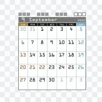 2020 Calendar Techno September