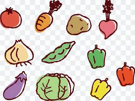 什錦手繪風蔬菜