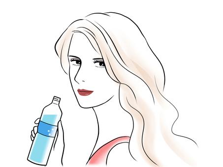 拿著塑料瓶的女人