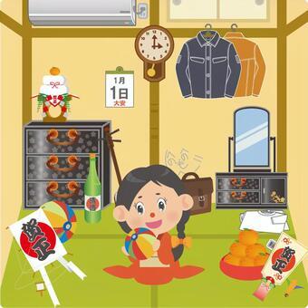 飛行在一個日本式屋子裡的婦女在與紙微風的一個新年