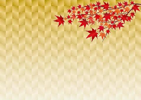 一個金色的灰色和紅色的深紅色的葉子框架
