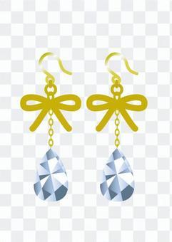 Drop earrings of ribbon motif