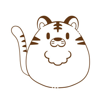 Simple_round tiger line drawing illustration