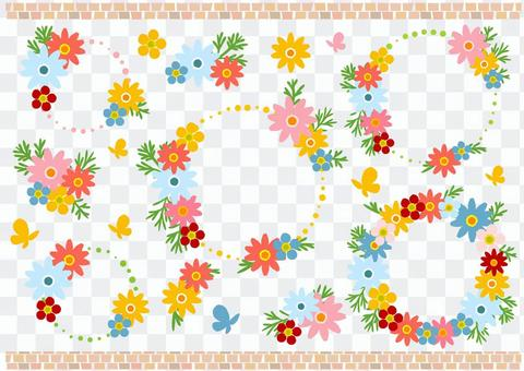 七彩花朵圈框架