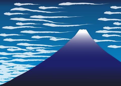 2個背景(浮世繪風格,富士,飄動的雲朵)