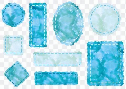 吉薩邊緣水彩標籤(藍色)