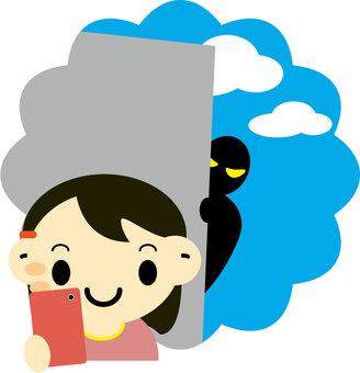 一個女孩與智能手機走