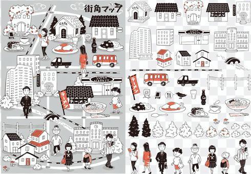 城市插畫地圖單色+紅色