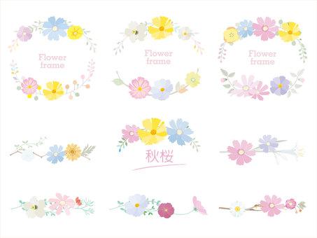 Autumn frame_Autumn cherry blossom decoration frame Pastel style 4
