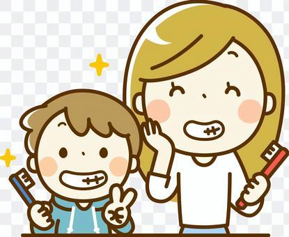 健康的牙齒父母和孩子