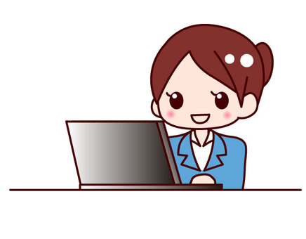 Working OL-style ladies using a personal computer