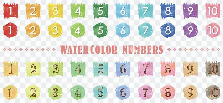 水彩觸摸數字集