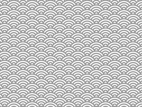 日本紋青海波浪紋灰白