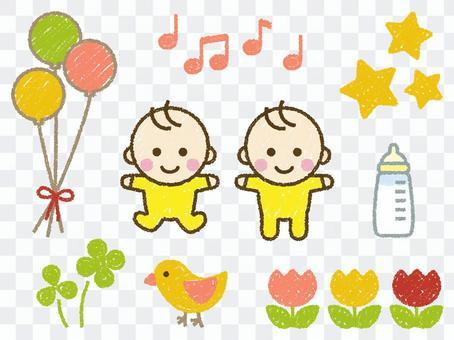 蠟筆觸摸嬰兒和材料套裝