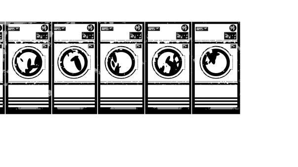 投幣式洗衣店,黑白,白色背景,透明背景