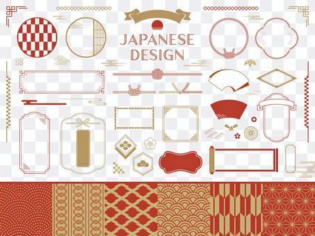 日本裝飾框架和日本模式集