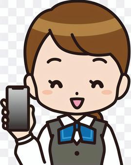智能手機(上身)的女人