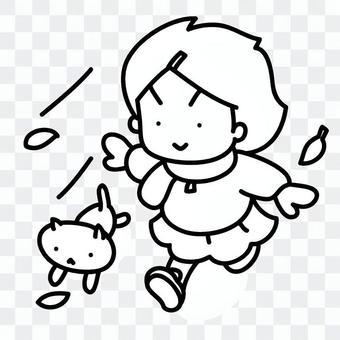 女孩和貓高興地跑