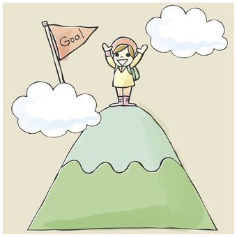 Illustrations, mountain climbing, mountain peaks, goals, illustrations