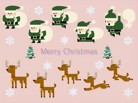 聖誕老人和馴鹿插圖設置01
