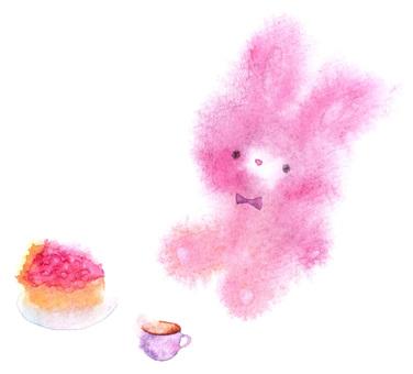 粉紅兔子,蛋糕和茶透明水彩手繪