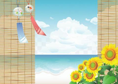 風鈴,竹百葉窗,大海和向日葵