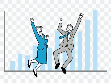 Business person who is pleased with improved business performance