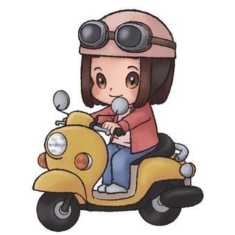 A woman riding a moped